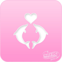 Picture of Pink Power Face Painting Stencil (1099) - Dolphin Heart
