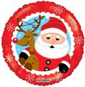 "Picture of Santa & Reindeer Foil Balloon - 18"" (1pc)"