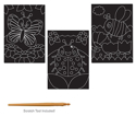 Picture of Krafty Kids Kit: DIY Scratch Art 3 Asst Sheets w/Scratch Tool - Flying Friends