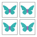 Picture of Mini 4 in 1 Butterfly Glitter Tattoo Stencil - HP (5pc pack)