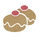 Picture of Double Sufganiyot Doughnut Glitter Tattoo Stencil - HP (5pc pack)