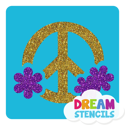 Picture of Flower Round Peace Sign Glitter Tattoo Stencil - HP-69 (5pc pack)