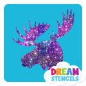 Picture of Moose Head Glitter Tattoo Stencil - HP (5pc pack)