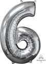 Picture of 26'' Mid-Size Shape Number 6 - Silver (1pc)